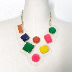 Kate Spade Clear Jeweled Statement Bib Necklace